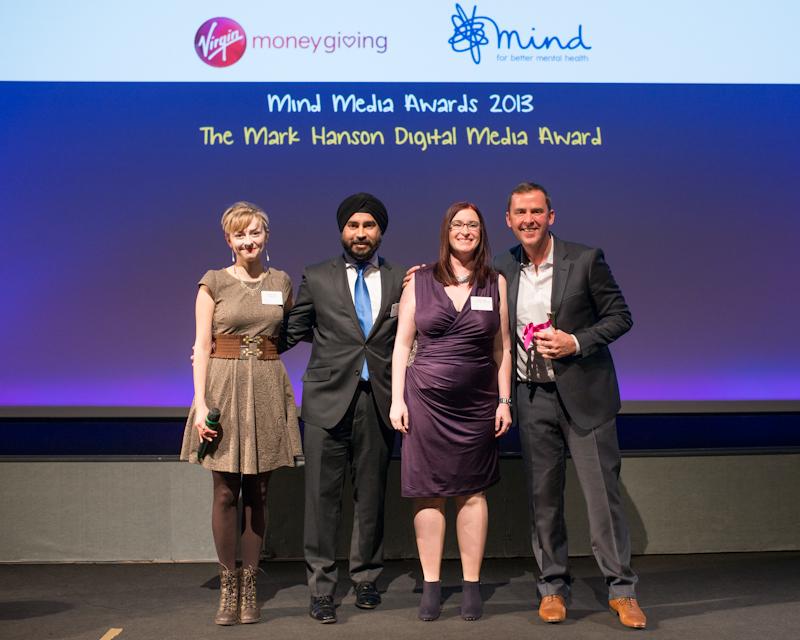 Rebecca Brown, Jag Singh, Charlotte Walker, Scott Mills at the Mind Media Awards 2013